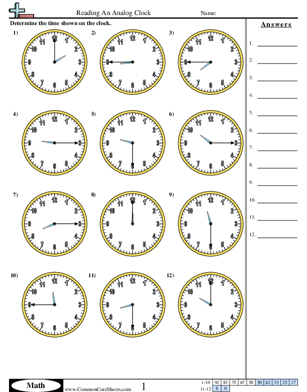 Time Worksheets Creating Clocks worksheet, 2020