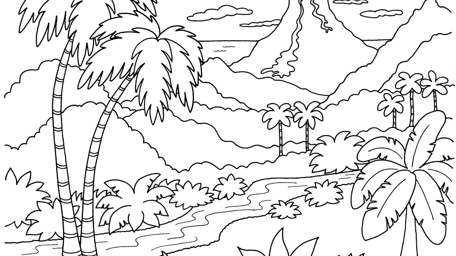 Tropical Nature Scenery Coloring Pictures Barbie Coloring Pages