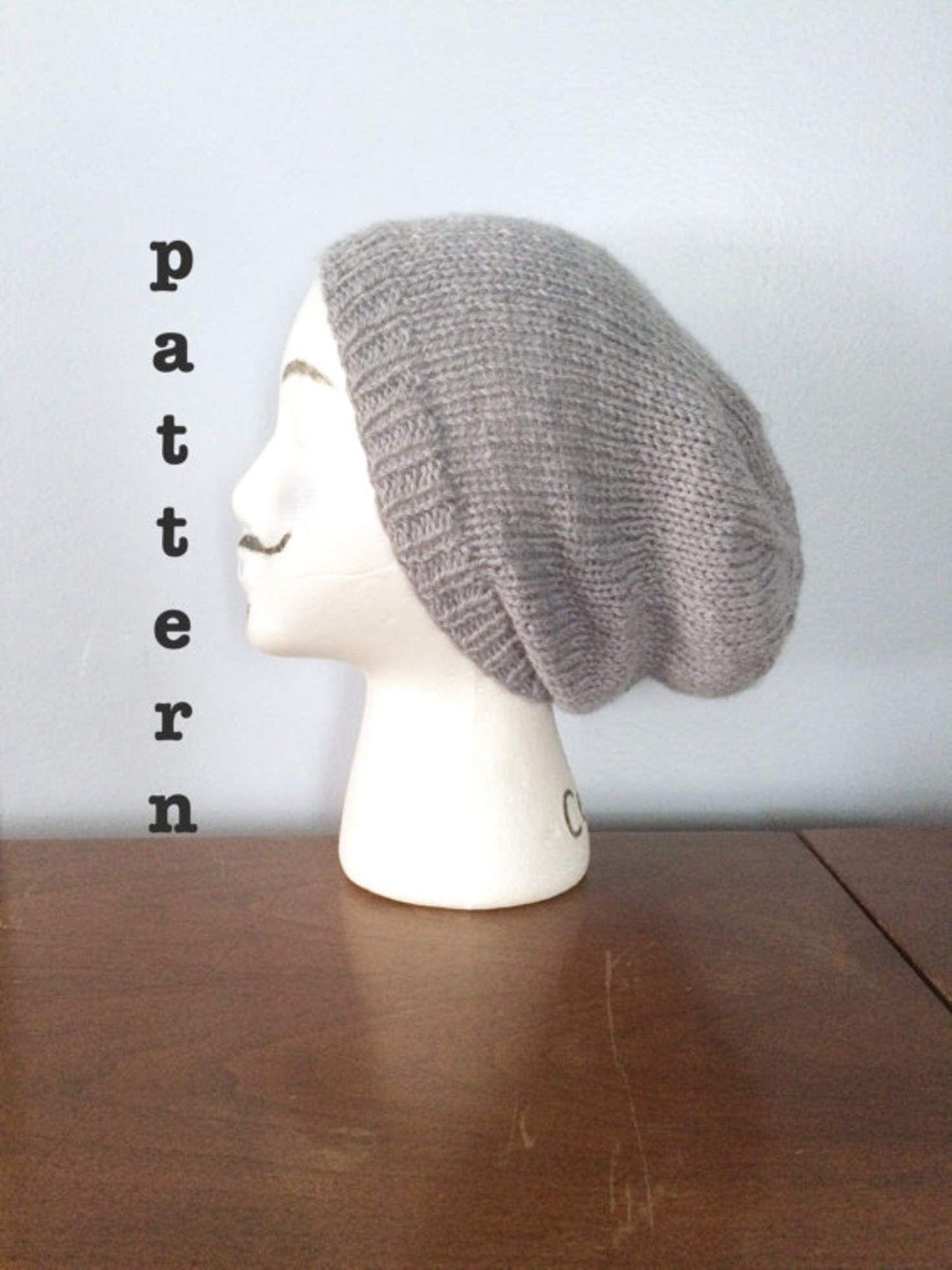 PATTERN Knitted Slouchy Beanie Pattern - Mens Beanie Pattern ...