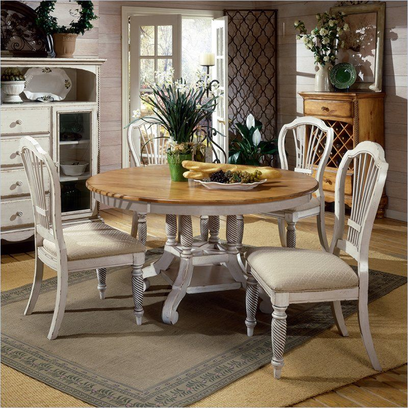 Antique White Dining Room Hillsdale Wilshire 5 Piece Round Dining Table Set In Antique White