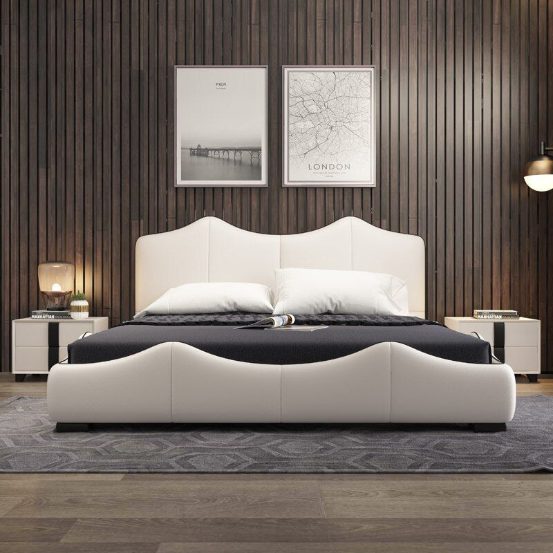 Real Genuine Cow Leather Bed Soft Beds Bedroom Camas Lit Muebles