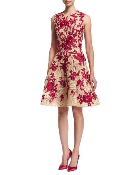 Embroidered Fit Flare Dress Natural Red