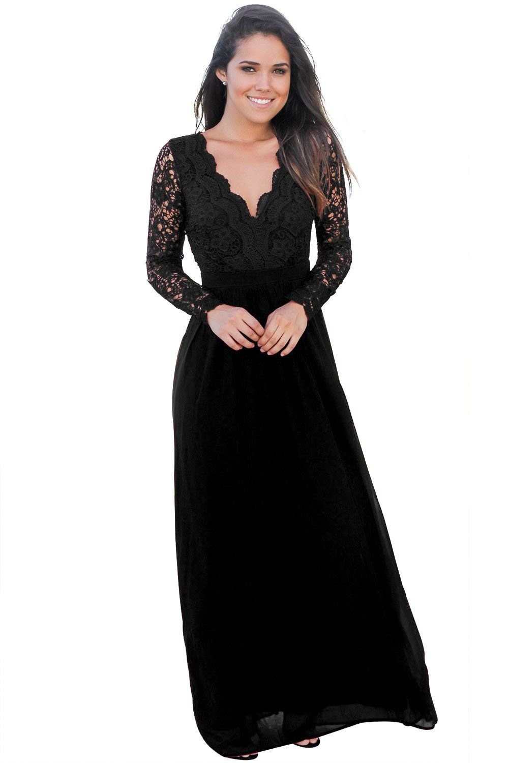 Black Open Back Long Sleeve Crochet Maxi Party Dress  1b97949bfa4