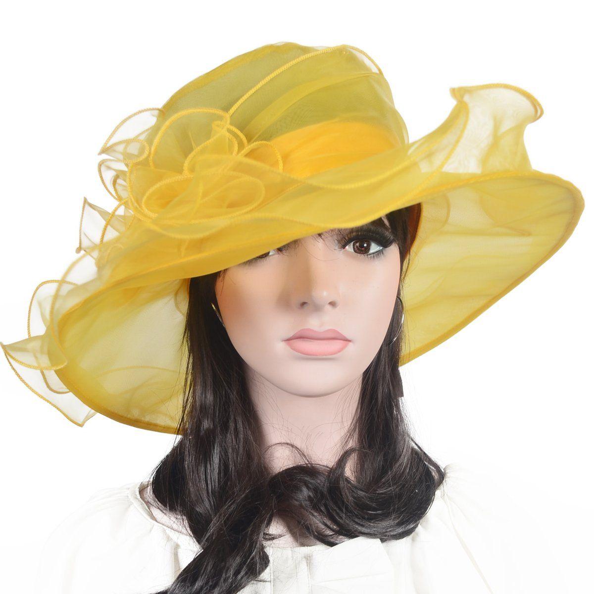 8cb45597bdf Lady Yellow Dress Hat Floral Kentucky Derby Sheer Wide Brim Hat ...