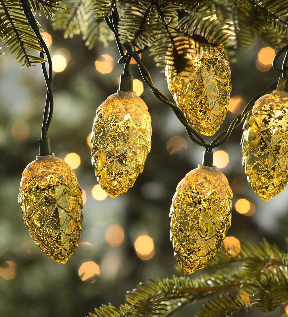 Mercury Glass Pine Cone String Lights | Decorating the Tree ...