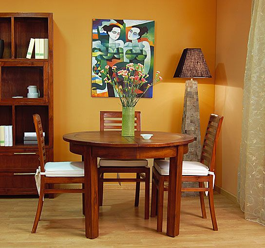 Mesa de Comedor Madera redonda extensible colonial Kaylee ...