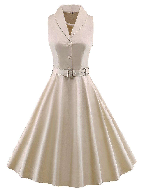 50er kleid beige