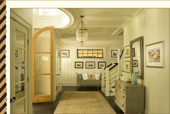 love this color palette, interior window, wainscoting, doors