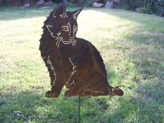 Cat Garden Stake Metal Garden Sculpture Makes A By YourBreedNSteel