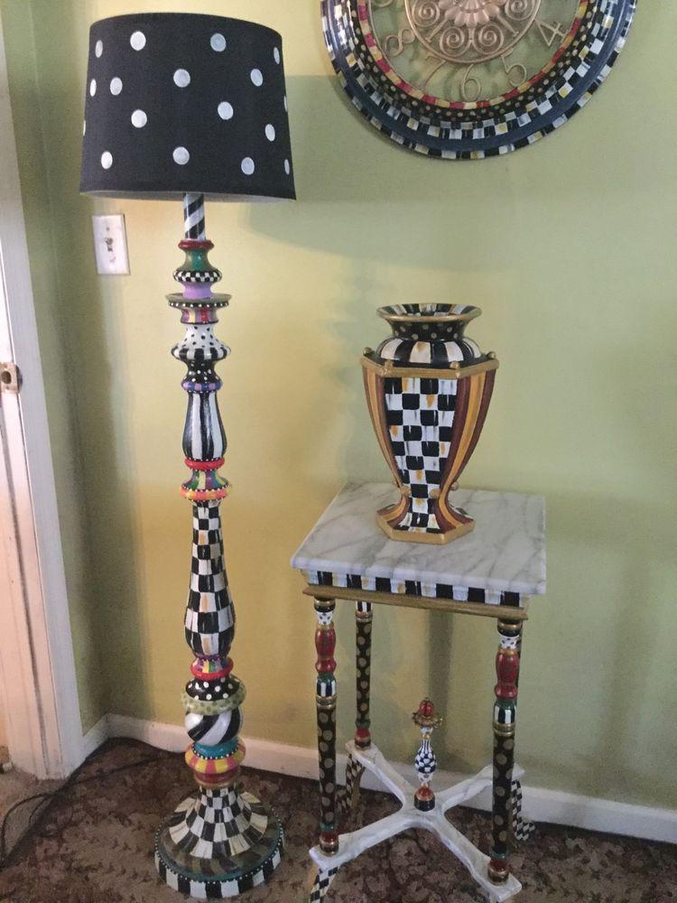 My Own Hand Painted Whimsical Floor Lamp And Mackenzie Childs Napkins Mackenziechilds Whimsical Painted Furniture Funky Painted Furniture Whimsical Furniture