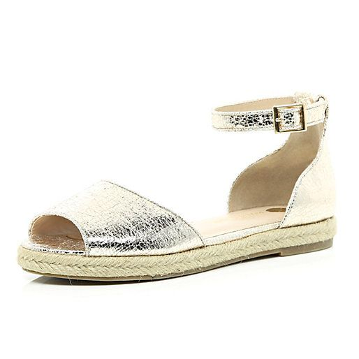 Gold Two Part Espadrille Sandals Riverisland Footwear