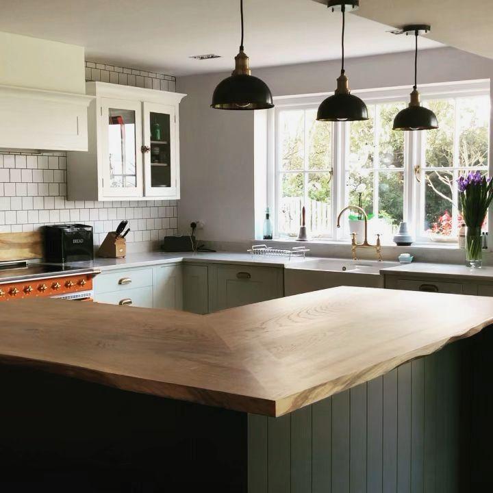 Live edge L shaped kitchen island top 2170x1030mm ...