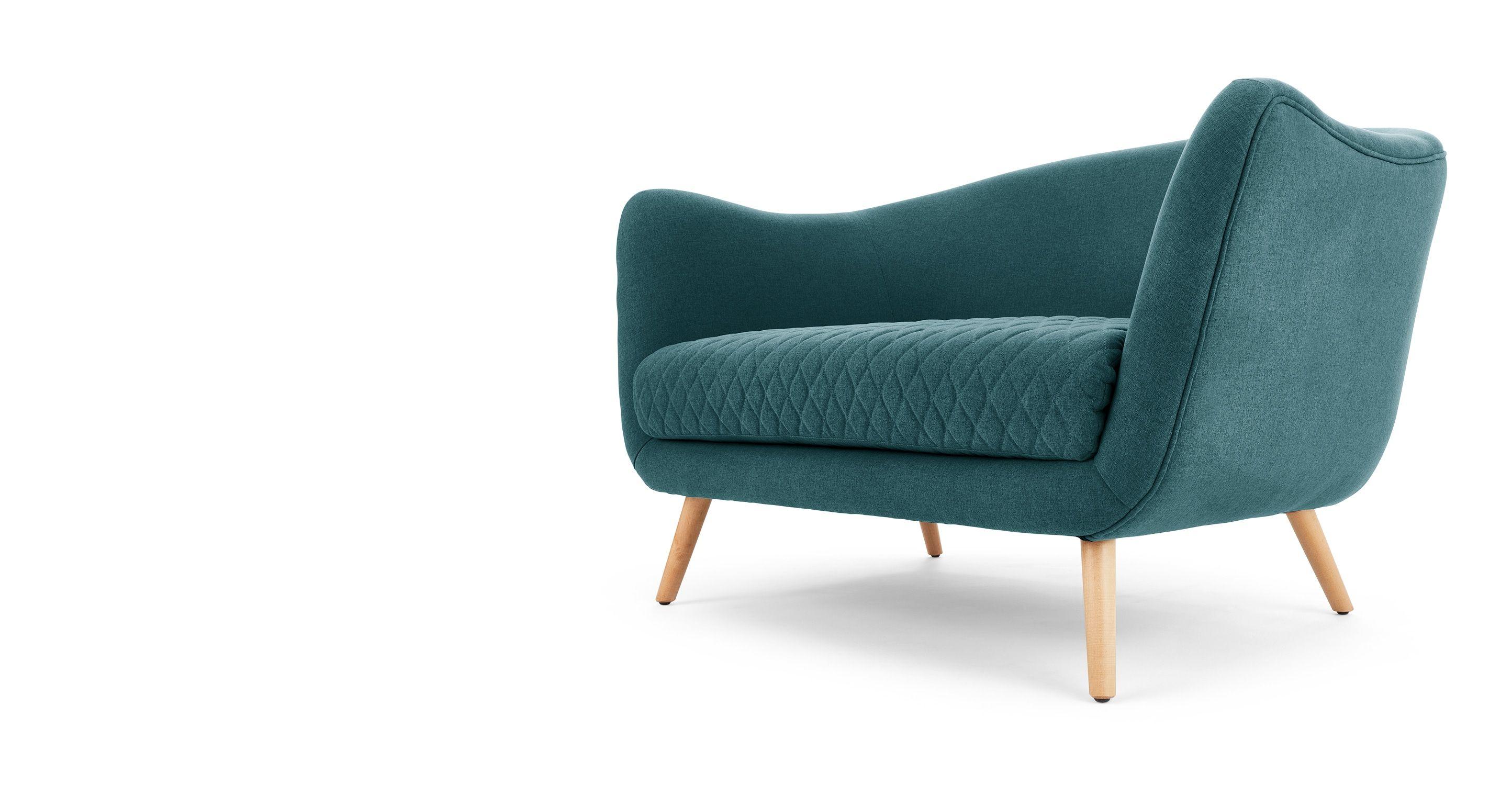 modern 2 Sitzer Sofas Flick 2 Sitzer Sofa Mineralblau MADE