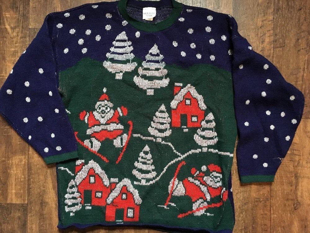 Vintage Holiday Time Ugly Santa Claus Christmas Xmas Sweater Tinsel Tacky L  | eBay