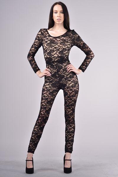 Racey Black Long Sleeve Lace Bodysuit  7dd591d757e7