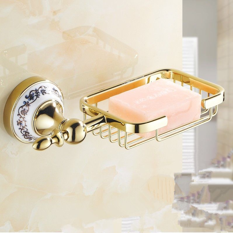 Fashion Bathroom Accessories Europe Gold Style Soap Basket Bronze Dish Soap Holder Vintage Shower Soap Container Bathroom Soap Holder Soap Holder Bathroom Accessories