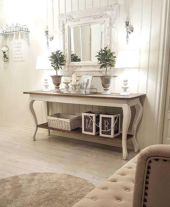 Mesa vintage con espejo recibidor blango gris tocador for Espejos para mesa