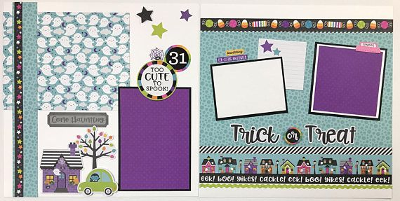 Halloween scrapbook page kit or premade eight pages 12x12 pages pre halloween scrapbook page kit or premade eight pages 12x12 pages pre cut with instructions this is a pre cut do it yourself scrapbook kit that includes all solutioingenieria Choice Image