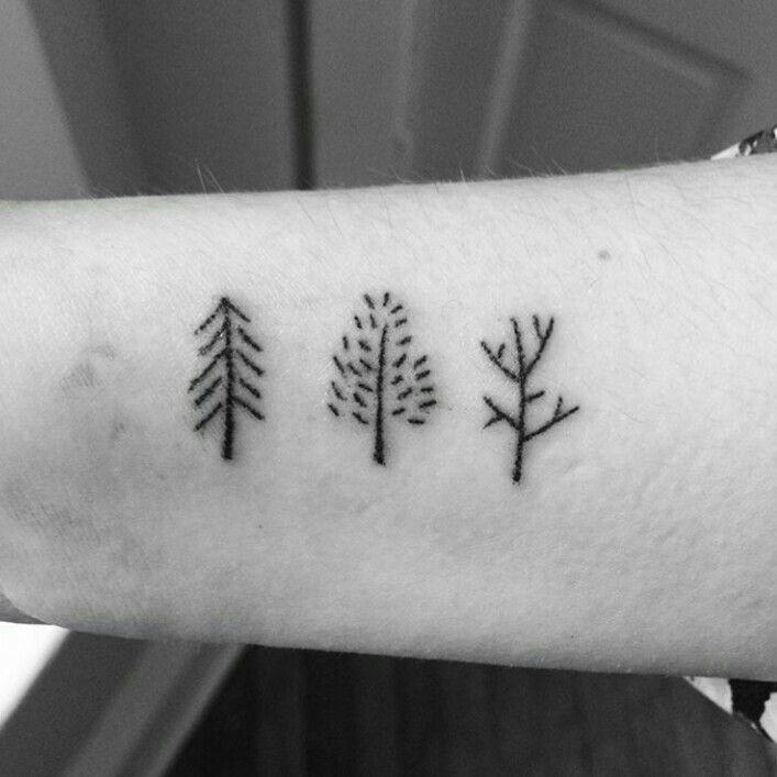 Cute trees stick and poke tattoo idea