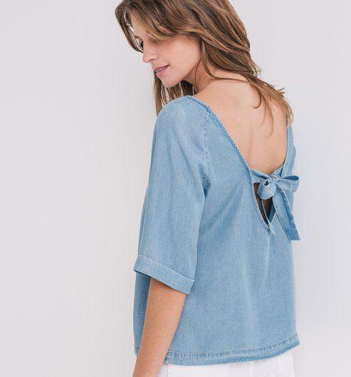 blouse en denim l ger femme jean clair chemisiers tuniques femme promod inspiration. Black Bedroom Furniture Sets. Home Design Ideas