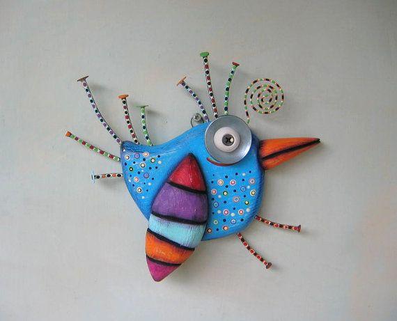 Bright Bluebird Original Found Object Sculpture by FigJamStudio