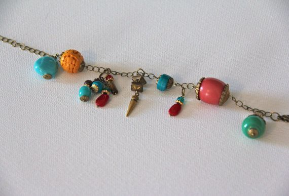 Beaded Charm Bracelet on Etsy, $20.00