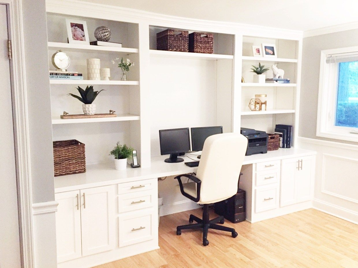 Built In Desk Reveal The Cofran Home In 2020 Ikea Built In Home Office Design Home Office Decor