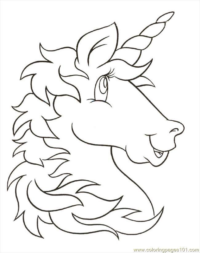 free printable coloring image unicornhead - Kid Printables Free