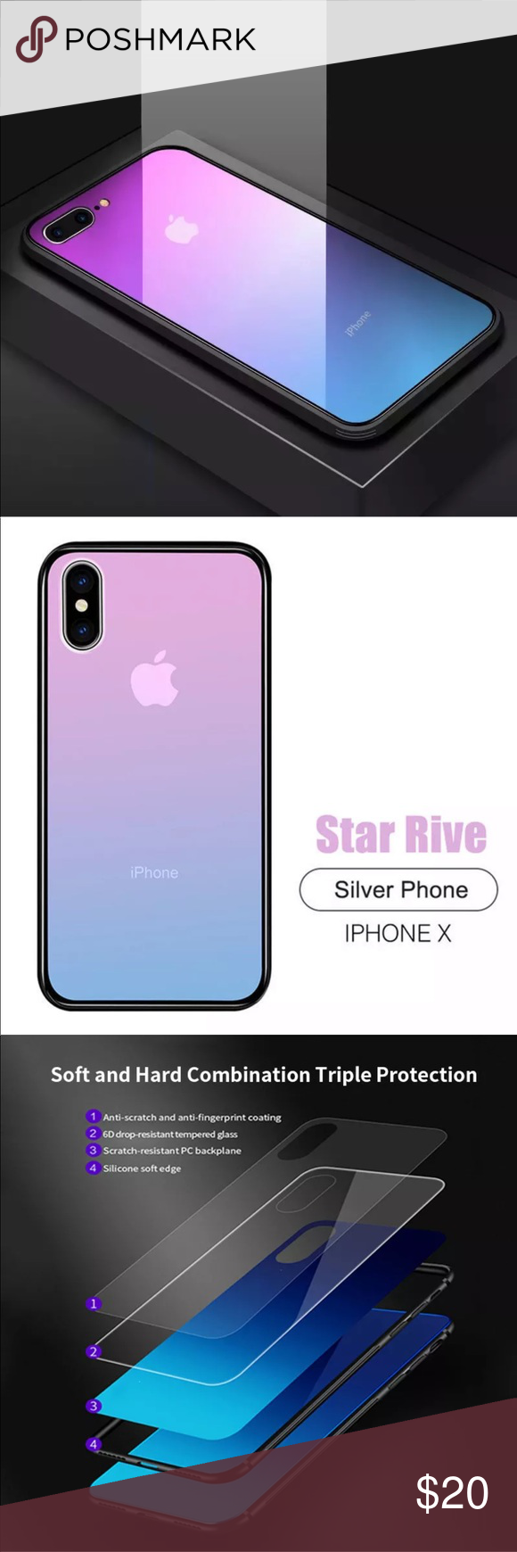Starrive Gradient Iphone 6 6s 7 8 X S R Max Case The Glass Back Is Made Out Of Enforced Gorilla Glass And It Is 1 With Images Gorilla Glass Phone Case Accessories Iphone