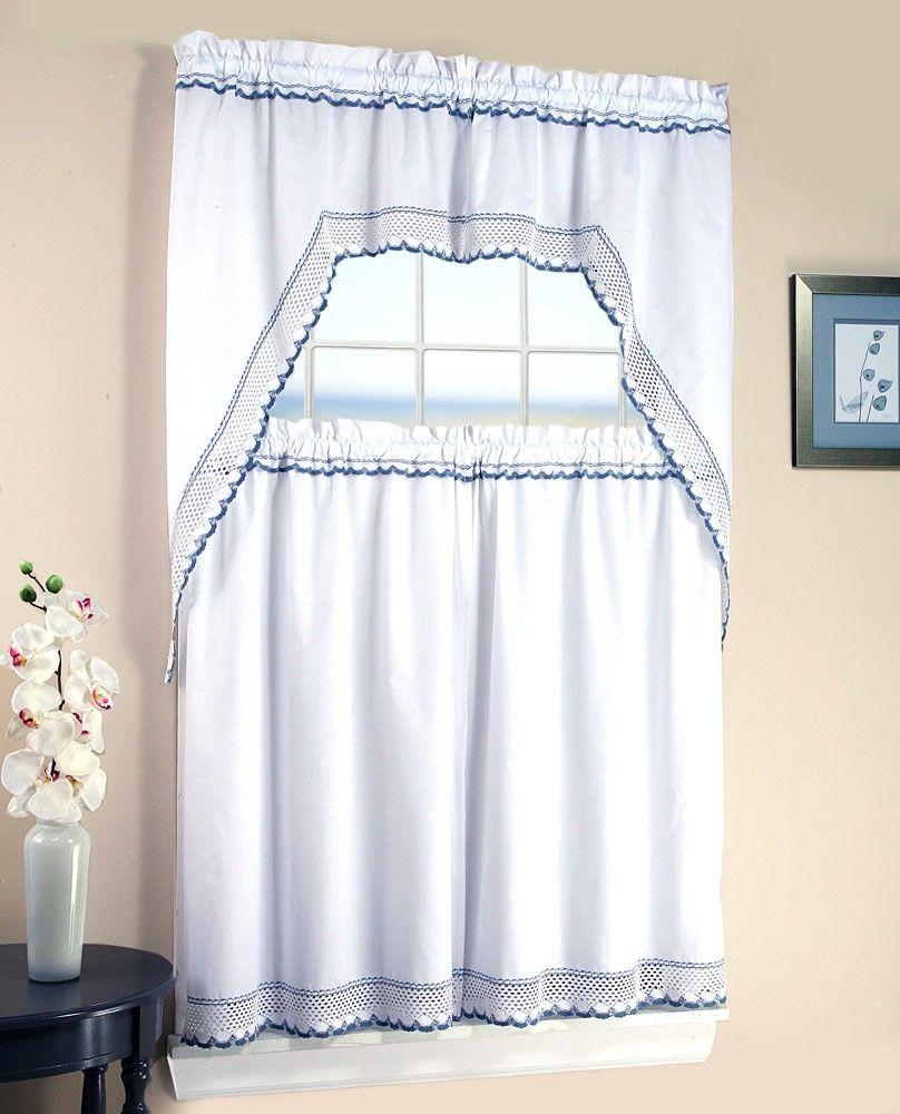 Avanti Crochet 3 Piece Kitchen Curtain Valance Tiers Set White Blue 58x38 29x36 Kitchen Curtains And Valances Valance Curtains Curtains