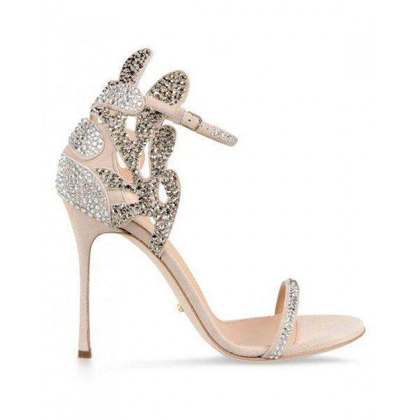 Champagne Wedding Shoes Rhinestone Stiletto Heels Bridal