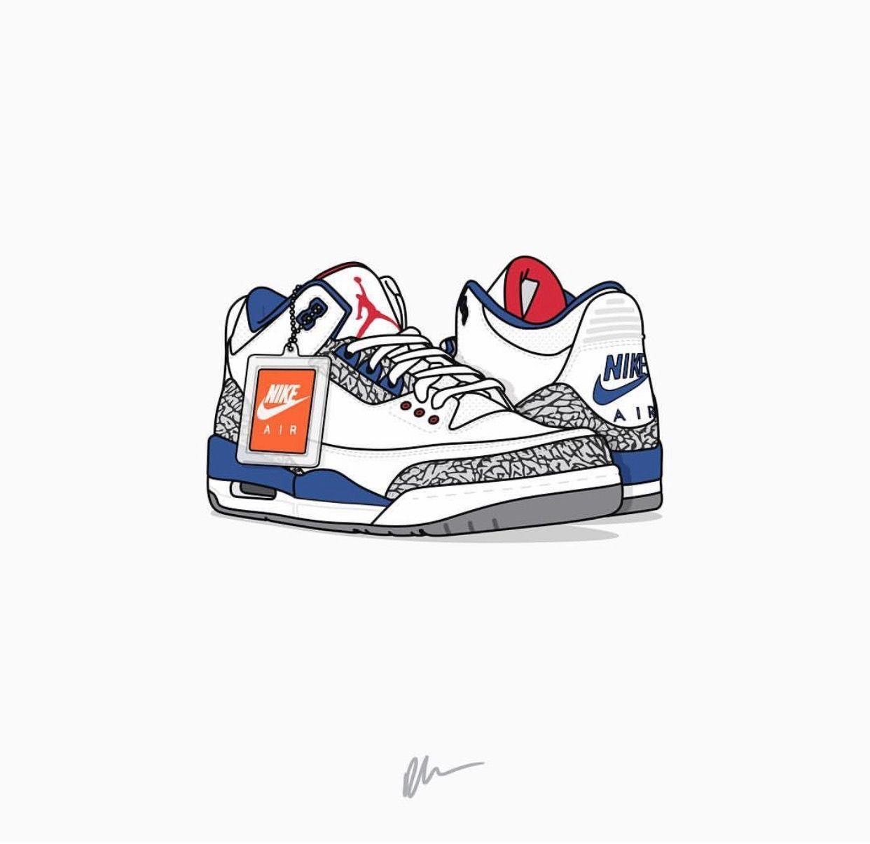 purchase cheap 3e451 cc64f Air Jordan III True Blue Sneaker Art, Cheap Nike Air Max, Shoes Wallpaper,
