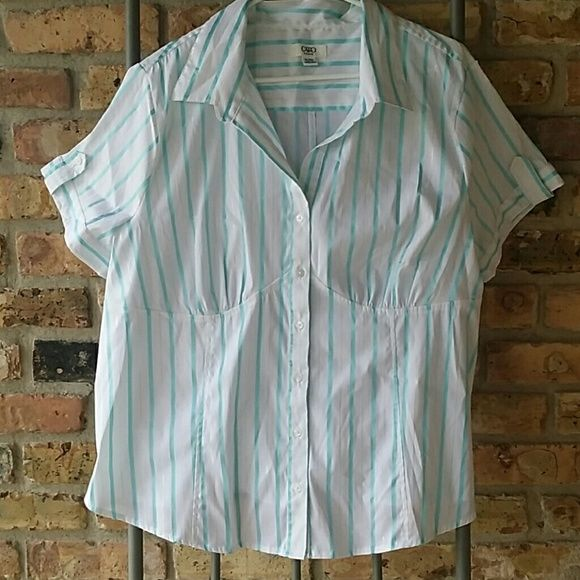 Cato button down Blue and silver striped button down. Gently used. Excellent condition. Cato Tops Button Down Shirts