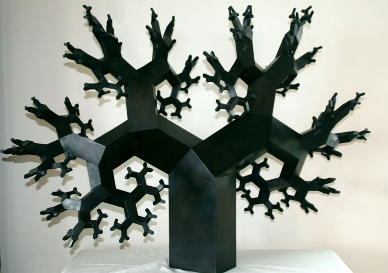 """Mitered Fractal Tree I,"" by Koos Verhoeff and Anton Bakker. ""Mitered Fractal Tree constructed from a beam with a rectangular cross section in the ratio 1:√2. No two branches point in the same direction. The result is an awe inspiring organic structure that is both highly structured and chaotic."""