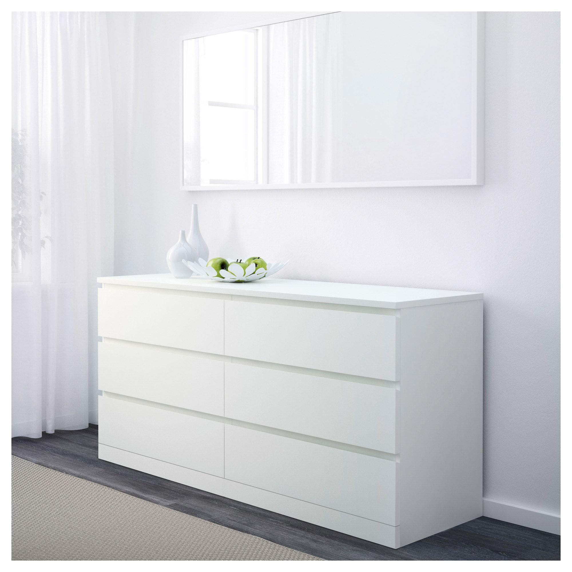 Malm 6 Drawer Dresser White Stained Oak Veneer 63x30 3 4