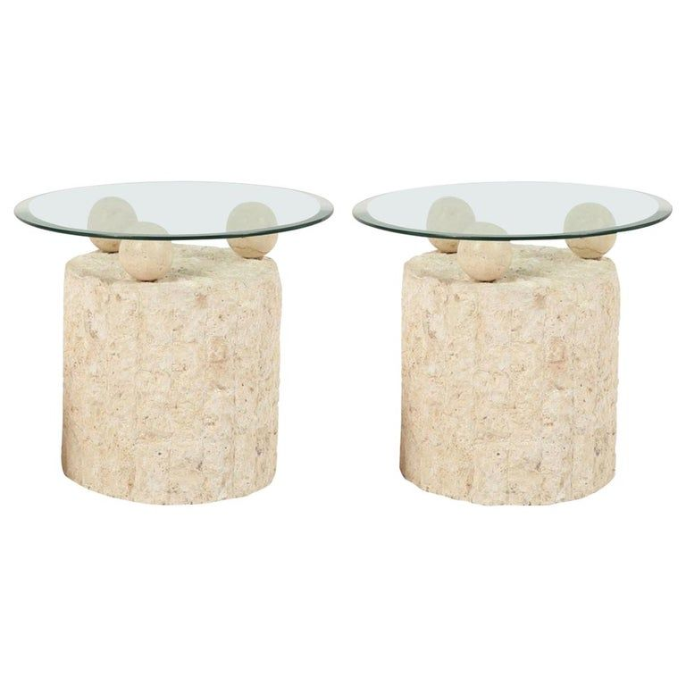 1980s Natural Mactan Stone End Side Tables With Glass Tops Stone Coffee Table Vintage Side Table Side Table