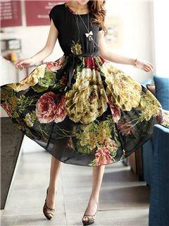 Short Sleeves Elegant Soft Slim Flower Decorated Chiffon Dress