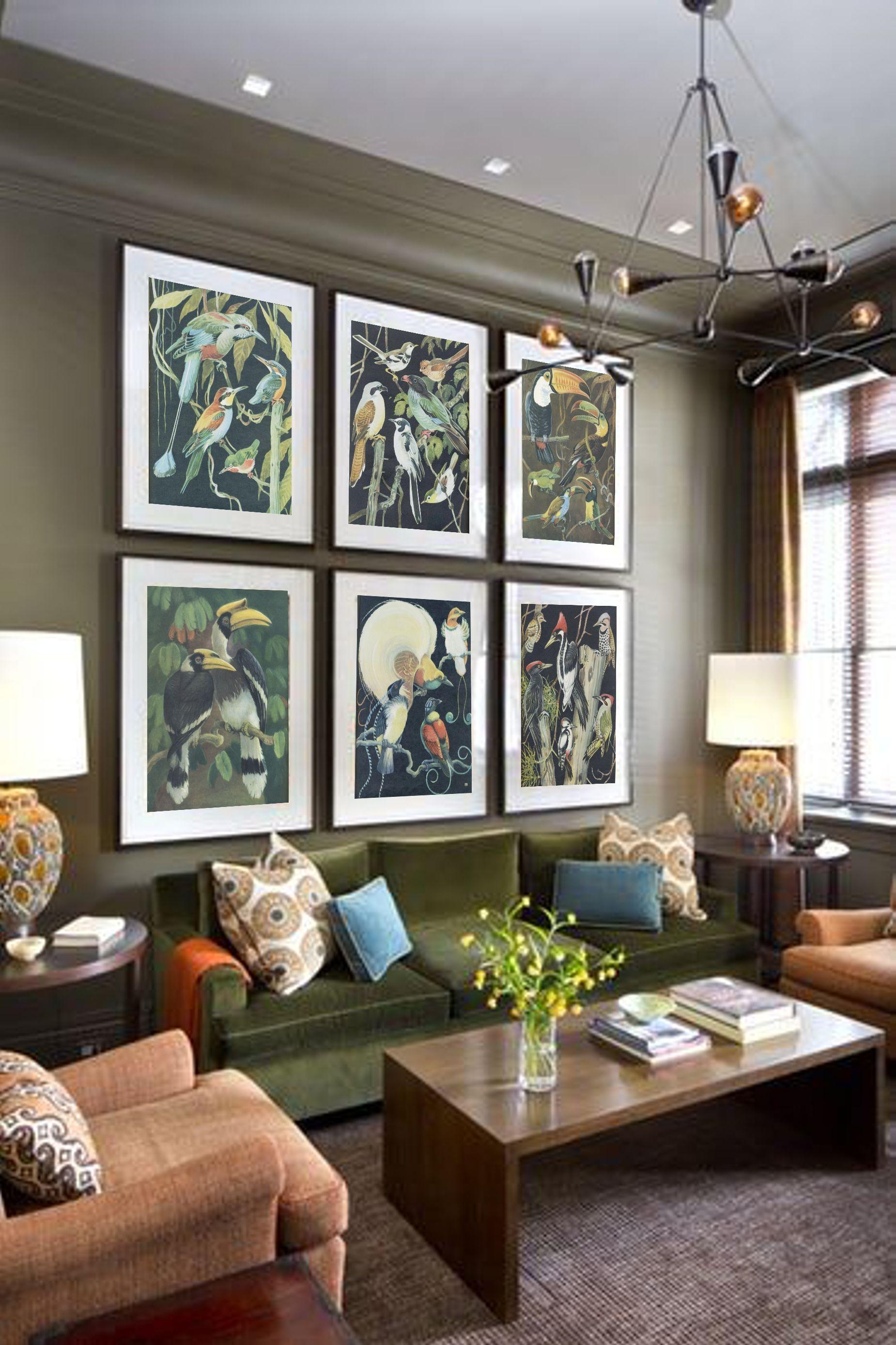 Vintage Bird Digital Collage Sheet Old Paper Textures Instant Etsy Home Living Room Living Room Designs Interior Design