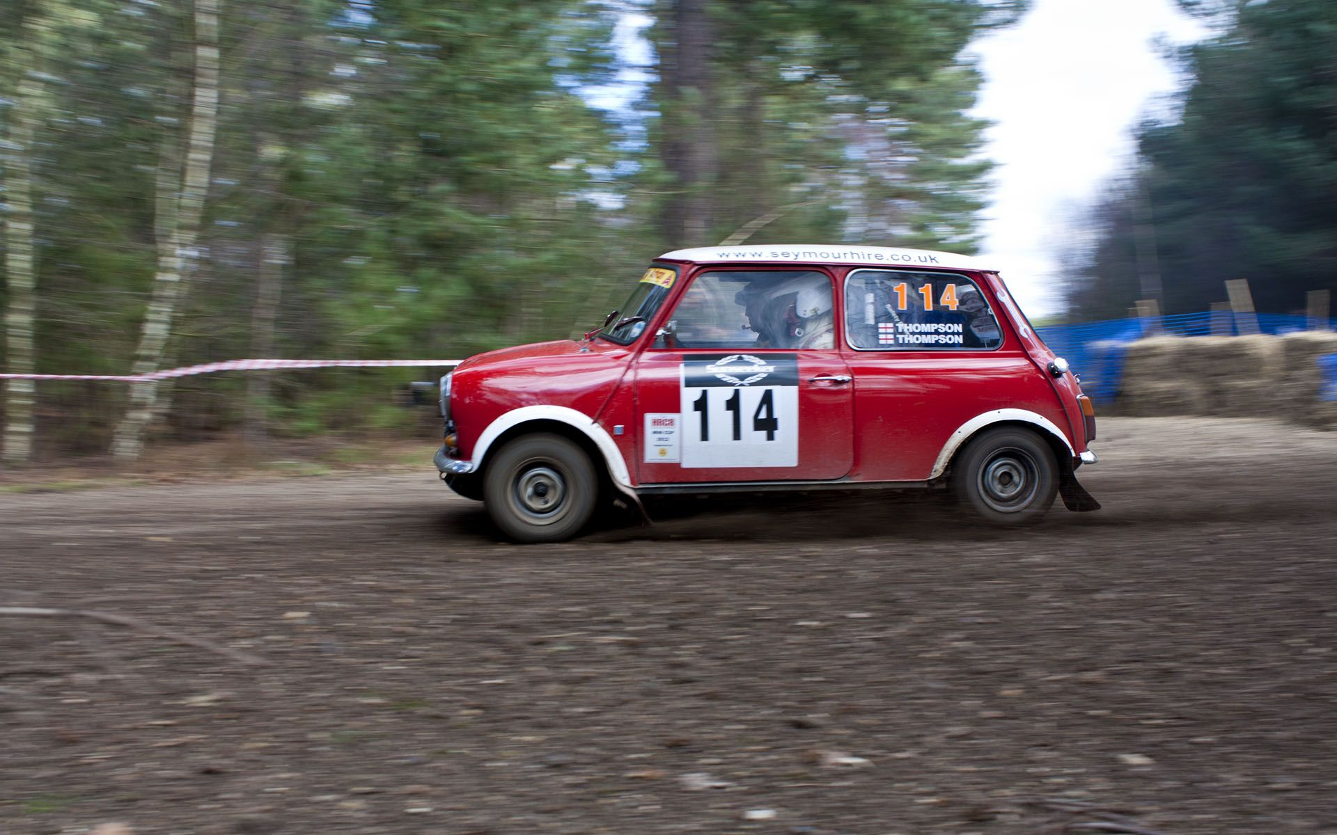 Classic Rally Cars Mini Cooper On A Rally Stage Near Ringwood