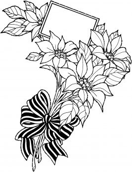 Christmas Flower Bouquet with Greeting Card coloring page | Super ...