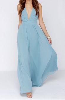 Light Blue V-neck Long Chiffon Bridesmaid Dress