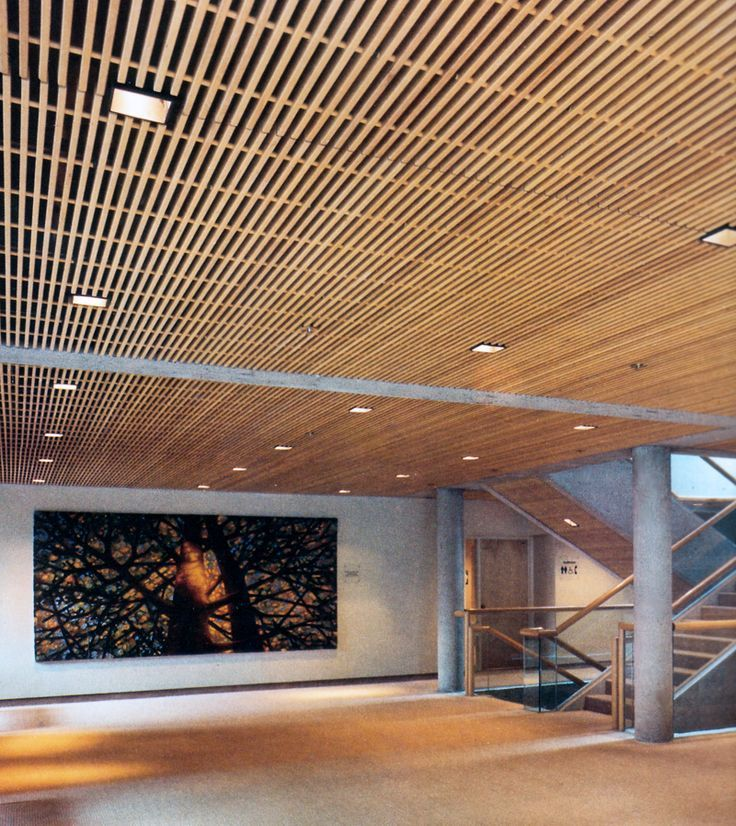 Bildresultat för how to build a wood ceiling - Stunning Slatted Wood Ceiling Panels Design For Contemporary Home