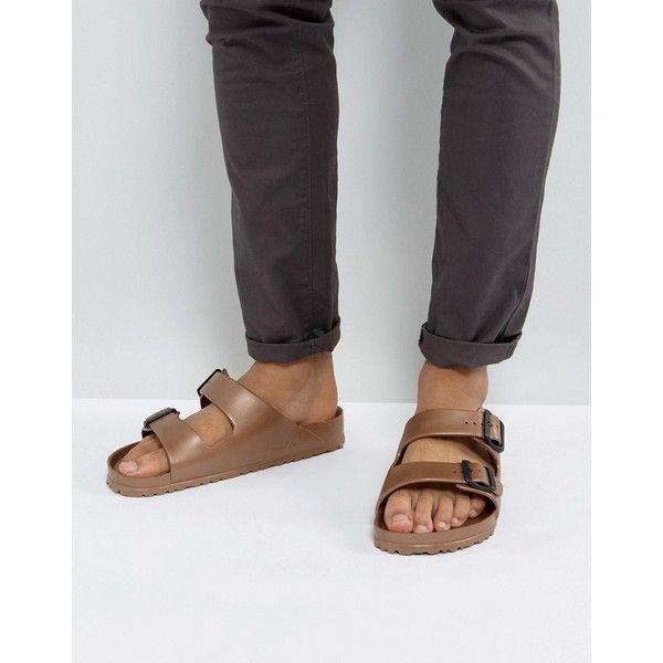 Birkenstock Arizona Eva Metallic Sandals in Copper ($44) ❤ liked on Polyvore  featuring men's