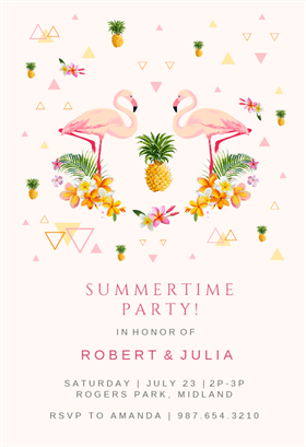 Flamingo Party Printable Invitation Template Customize Add Text