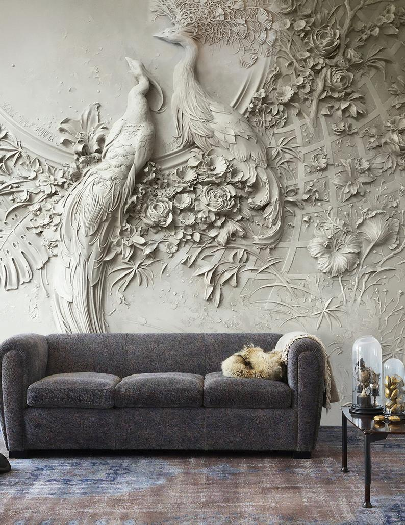 Sculpture Wallpaper 3D Look Embossed Style Floral Wall