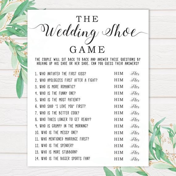 Games To Play At Weddings: The Wedding Shoe Game . Bridal Shower Games . Wedding
