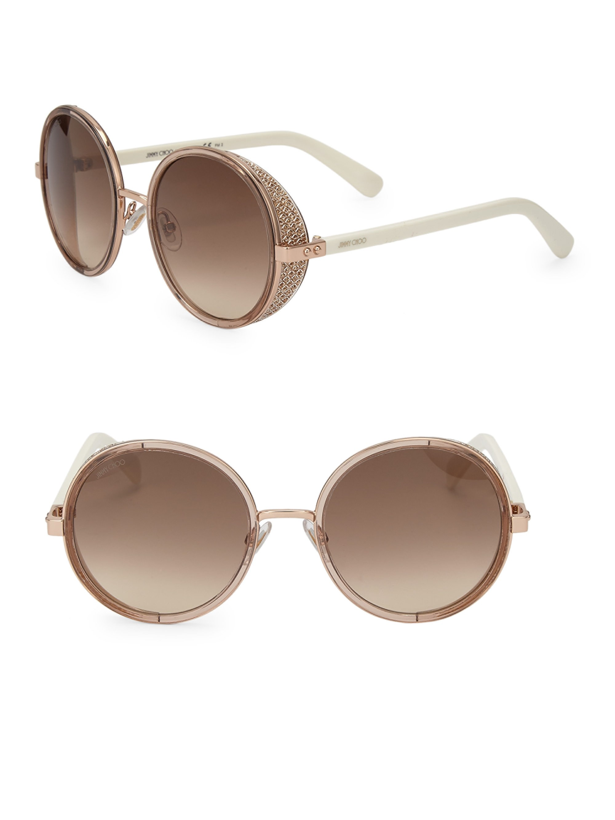 6a674b0ac27be Jimmy Choo Andie 54Mm Round Crystal-Detail Sunglasses - Black One Size Brown