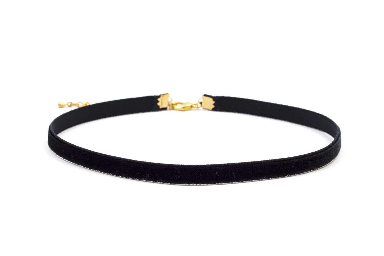 Large Gold Circle O-ring Black Faux Suede Velvet Choker Wrap Collar