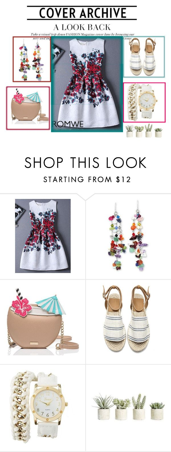 """""""Romwe"""" by loveliest-back ❤ liked on Polyvore featuring NOVICA, Kate Spade, Charlotte Russe and Allstate Floral"""
