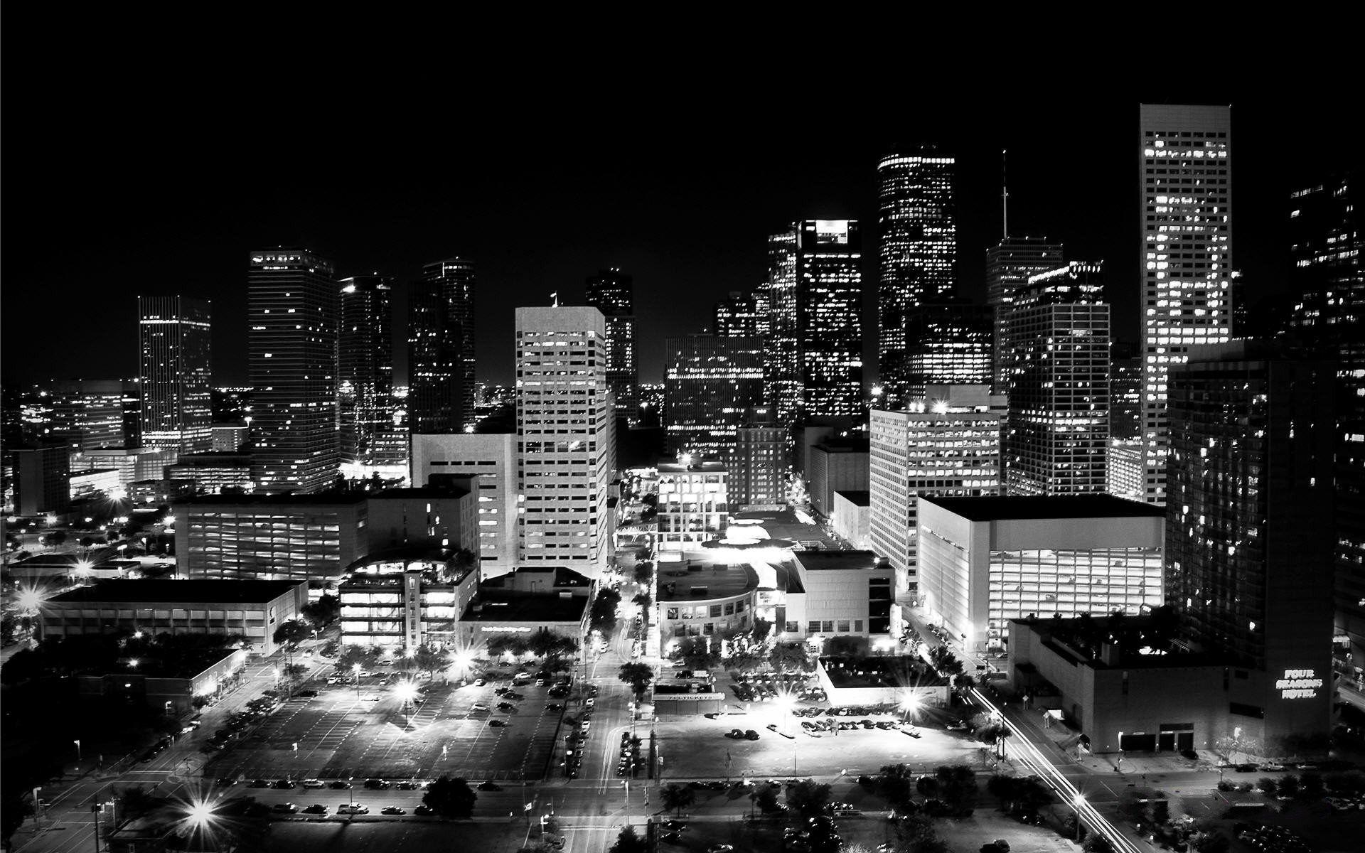 White And Black Houston Skyline Wallpaper Houston Skyline Skyline University Of Houston